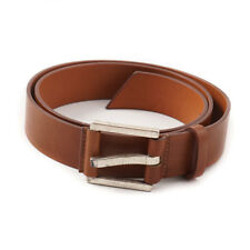 New $295 SANTONI Whiskey Brown Grained Texture Leather Belt 38 Waist (95cm)