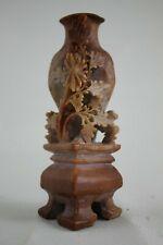 Vintage Hand Carved Soapstone Floral Sculpture Vase Ink Pot 5 in. Marked CHINA