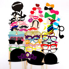 58pcs moustache lèvre loup Masque avec tige accessoires pour fêtes photo booth