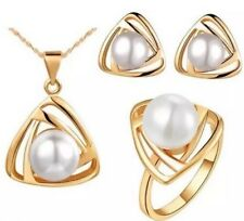Gold Plated  Faux Pearl Necklace, Earrings and Ring Gift Set