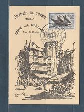 carte  1er jour  journée du timbre   19 Brive la Gaillarde     1957
