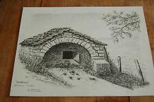 XXème - dessin au fusain  sur papier - 1980 - Font Bonne Chanac