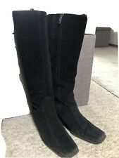 Aquatalia For Russell & Bromley Suede Knee-High Winter Boots, Black, Side 5