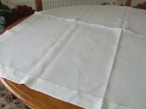 Vintage Plain White Irish Linen Table Cloth.