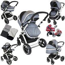 iSafe Pram System 3 In1 Baby Travel Pramette Grey Car Seat Raincover Foot Muff
