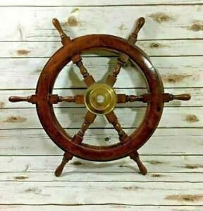 18'' Gaston Turcotte Carved Steering Teak Brass Ship Wheel Wooden Captain Boat