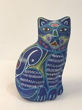 Latin American Cat Ceramic Hand Painted Sculpture Pottery Art