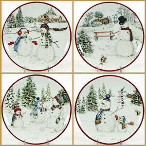 "Williams-Sonoma HOLIDAY SNOWMEN 8"" Plate Set 4Pc Pine Trees Christmas MIB"