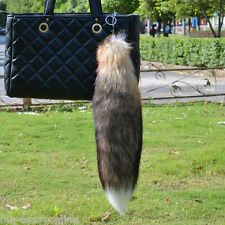 1PC Real Fox Cosplay Tail KeyChain Fur Bag Tag  Keyring Handbag Pendant US stock