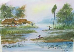 UDOMRAKI OLD VIETNAM FISHERMAN VILLAGE HUNTS WATERCOLOR LANDSCAPE PAINTING