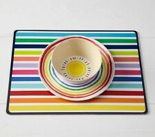 Pottery Barn Kids Placemat Cork Back Hard Surface Easy clean Rainbow  New