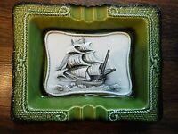 VTG Avocado Green Ceramic Nautical Flagship Ashtray Mid Century Modern