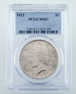 1923 $1 Silver Peace Dollar Graded by PCGS as MS-62! Nice Coin!