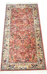 Super Keshan Indian pictorial wool rug in red hunting scenes 6 x 2.9 FT