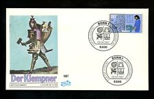 Postal History Germany Fdc #B654/B657 Lot Of 3 Youth Industry plumber 1987