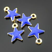 30 pcs Enamel Alloy Made Blue Little Star Charms Necklace Pendant Crafts 15x13mm