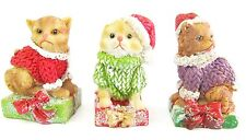 Cat  Xmas Figurines Table Decoration Set/3 Cute Resin Kittens with Glitter