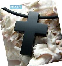 Herren Halskette Anhänger Kreuz matt Titan schwarz pl. +Edelstahl PU Halsband