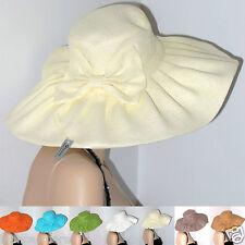 Cappello Paglia BIANCO PANNA donna FALDA LARGA pochette sposa cerimonia D0380