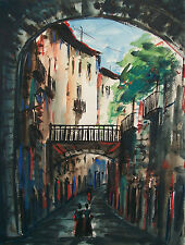 Vintage Gouache & Watercolor Painting - Signed - Spain - Late 20th Century