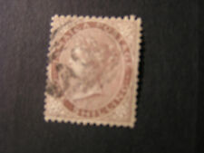 JAMAICA, SCOTT # 6a, 1/- VALUE LILAC BROWN 1860-63 QV WMK. PINEAPPLE. USED