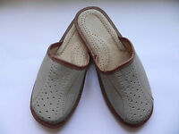 Men`s real leather slippers Light Grey Size UK 6,7,8,9,10,11,12. 100 % LEATHER