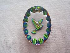 12 Vintage IRIS Finish Peace Dove OLD W German Glass Intaglio Pendants MUST SEE