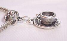 Teacup Tea Cup Saucer Coffee Mug Drink Dangle Charm for European Bead Bracelets