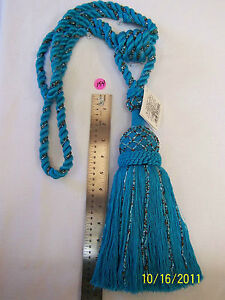 """Curtain Tieback /Tassel - 32""""spread with 12""""tassel - Turquoise with Beads"""