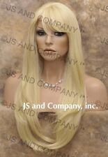 HUMAN HAIR Blend Long Straight Blonde wig Flat Iron WBTO 613