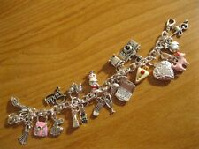 "NEW ""GIRLY GIRL"" INSPIRED CHARM BRACELET - 21 DIFFERENT CHARMS - PINK Silver"