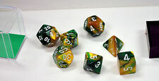 Dungeons & Dragons Fantasy 16mm 7 Piece Dice Set: Gemini Gold Green 26425