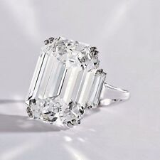 EGL Three Stone 3.35 Ct Emerald Cut W/ Baguette Diamond Engagement Ring I, VS1