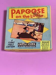 1961 Walter Lantz B & W Super 8 MM Film PAPOSE ON TH LOOSE