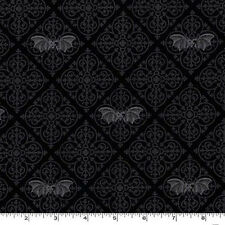 TWO YARDS-Gothic Bats Bat Black Halloween Fabric Michael Miller CX6638-GRAY-D