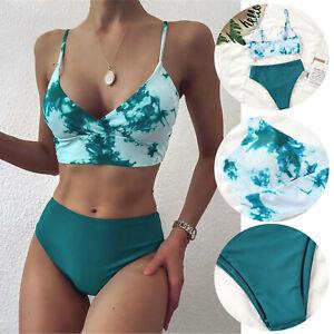 Womens High Waist Padded Push-up Bikini Set Swimsuit Bathing Suit Swimwear Beach