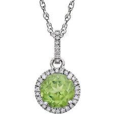 Diamante & Peridoto Piedra de nacimiento Collar en 14k ORO BLANCO (1 / 10ct. TW