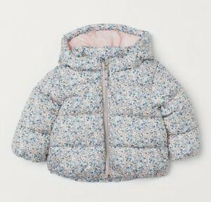 H&M Baby Toddler Girl Hooded Floral Padded Jacket Warm-Lined Winter Coat 18M