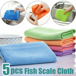5pcs Fish Scale Microfiber Polishing Cloth Rag Glass Cleaning Home Cloth