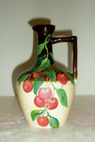 Vintage Pottery Stoneware Jug Hand Painted Cherries