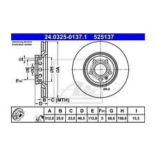 2 St. ATE 24.0325-0137.1 Bremsscheibe Power Disc   Audi A4 Avant A4 A6 Seat