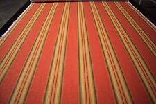 """Striped Green Orange 100% Flax Linen Fabric 55""""W Upholstery BTY Natural Fiber"""
