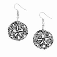 Textured Sand Dollar Fashionable Earrings - Fish Hook - Antique Silver Plated