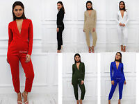 Glamzam New Womens Ladies Plunge Low V Long Sleeve Skinny Leg Jumpsuit