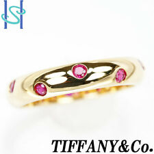 GENUINE TIFFANY&Co. Ring Dots Band 750 K18 YG Yellow Gold Ruby US6.25 authentic