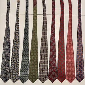 8 Men's Ties Grenadine Pattern Christian Dior Tommy Hilfiger Cardin Silk Tie Lot