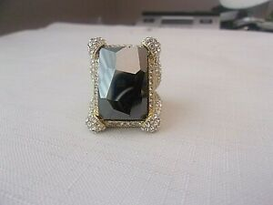 Signed AKKAD Gold Tone Large Hematite & Clear Crystal Statement Ring Size 12