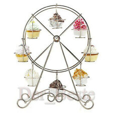 Ferris Wheel Silver Steel 8 Cup Cake Stand Holder Wedding Party Cake Shop Rack