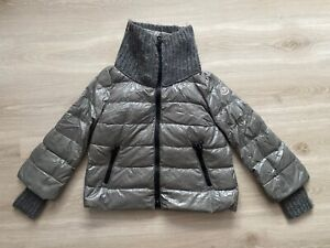 Moncler Cigale Lacquer Down Coat Sweater Knit Trim Bomber Jacket-  0 XS / Small