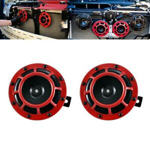 Pair 12V Super Loud Compact Super Tone Red grill Hella Horn for Mack